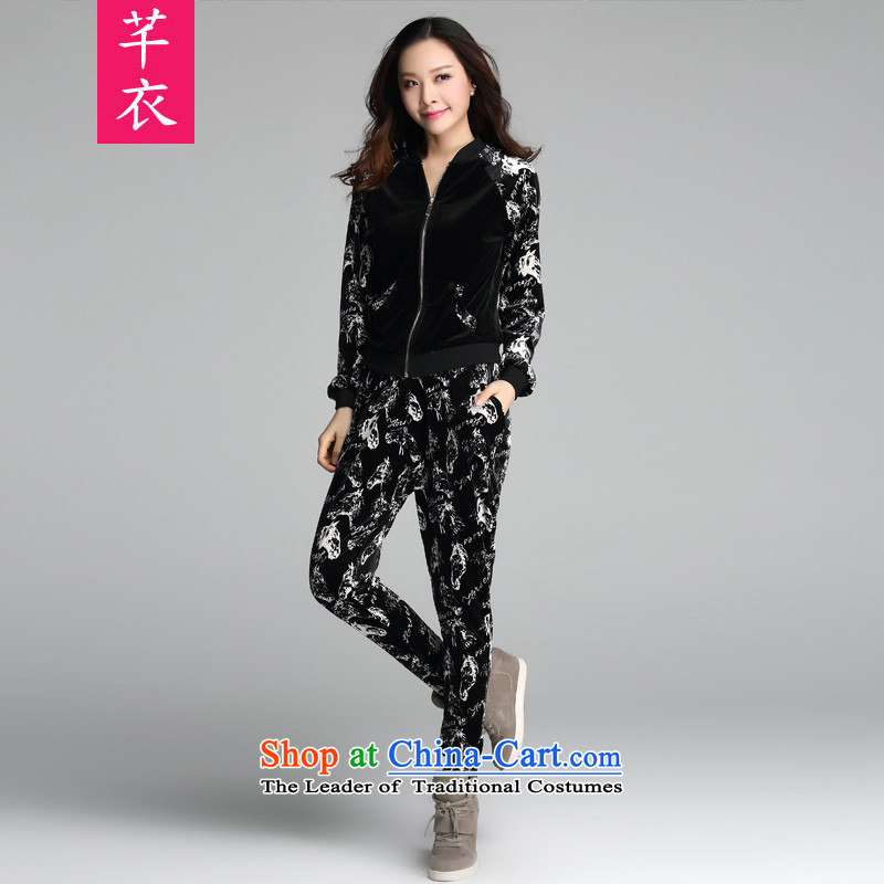 The 2015 autumn new boxed thick sister female stamp velvet sweater pants Korean sports wear long-sleeved code plus hypertrophy Leisure Sports Suits Sau San black�L 170-188 catty