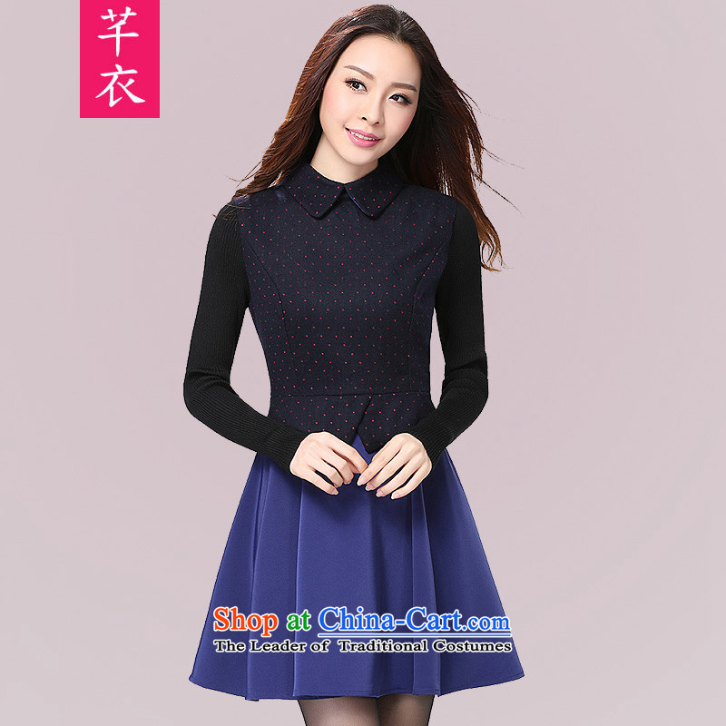 In the autumn of 2015, with new ad xl girls and women who are wide swinging under short skirts mm thick Korean video thin Foutune of long-sleeved small lapel temperament dresses blue to large 3XL 155-170 catty