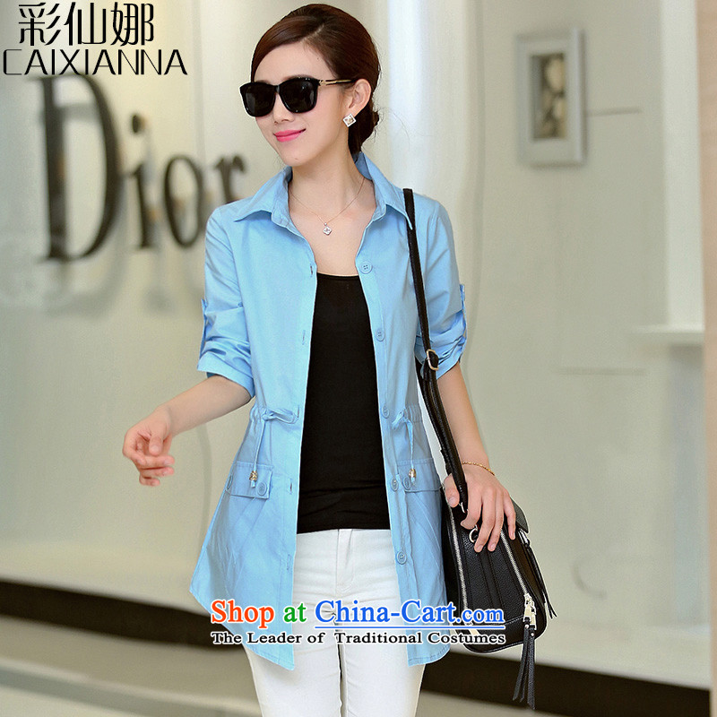 The Korean version of sin also larger women in spring and autumn 2015 replacing the new graphics thin waist drawcord large leisure shirt female long sleeved shirt blue燣