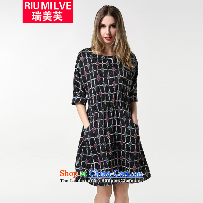 Rui Mei to to increase the number of women 2015 Autumn new thick mm Foutune of video thin retro latticed round-neck collar 7 cuff dresses�L 1881 Black