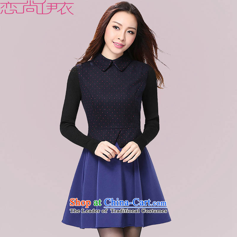 C.o.d. xl new boxed Korean autumn OL commuter dresses dot suit long-sleeved lapel video thin package skirt expertise vocational m lady dark blue skirt燼round 130-145 XL catty