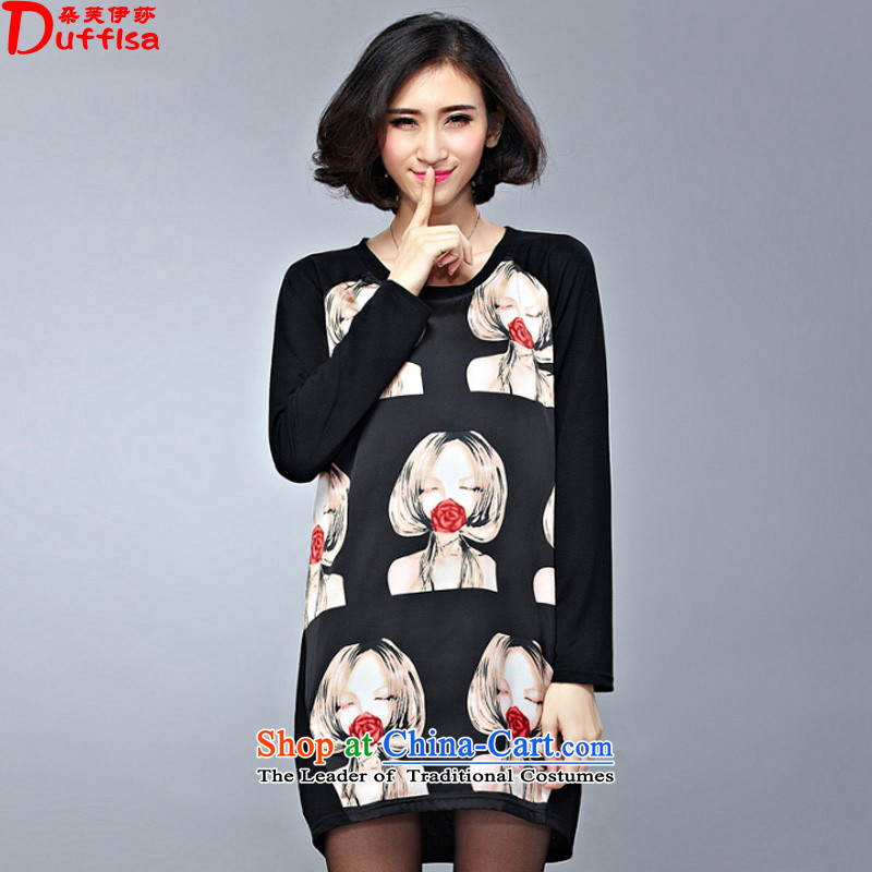 Flower to Isabelle Spring 2015 mm thick new larger women in long loose stamp graphics thin dresses D1524 female black 3XL