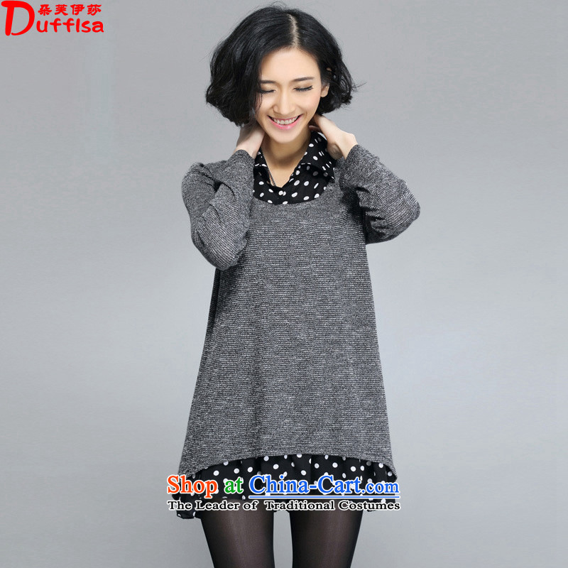 Flower to Isabelle燬pring 2015 new larger female thick mm video thin shirt lapel leave two pieces of knitted dresses female D1525 gray燲XL