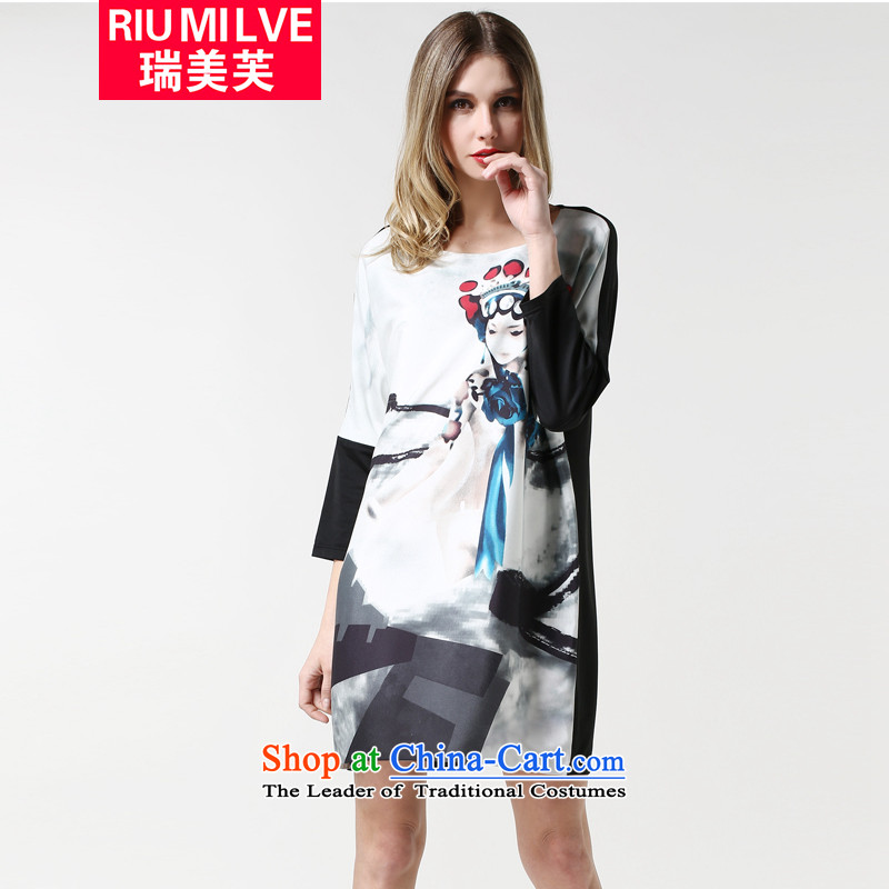 Rui Mei to爏pring 2015 new larger female thick, Hin thin knocked color stitching western style score of 9 stamp cuff casual dress white燲XXXL 1889