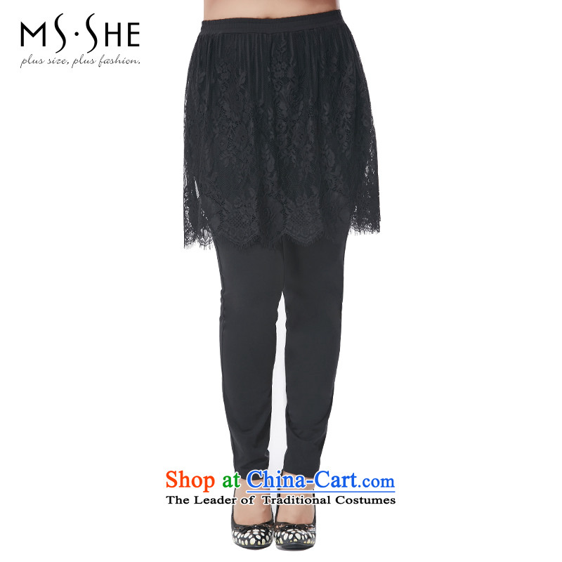 Msshe xl women 2015 new boxed Korean autumn lace stitching leave two forming the wild skort trousers 2,557 _black燭4