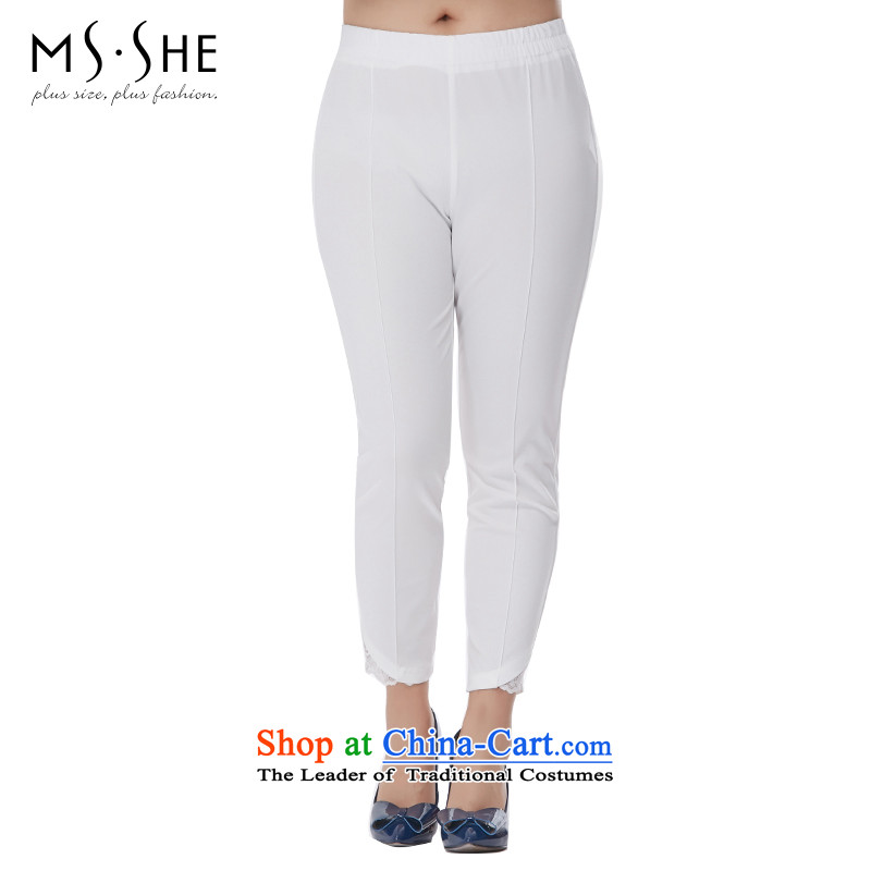 Msshe xl women 2015 Autumn new stretch of leisure wear thin score of 9 video pants 2485 white燭2