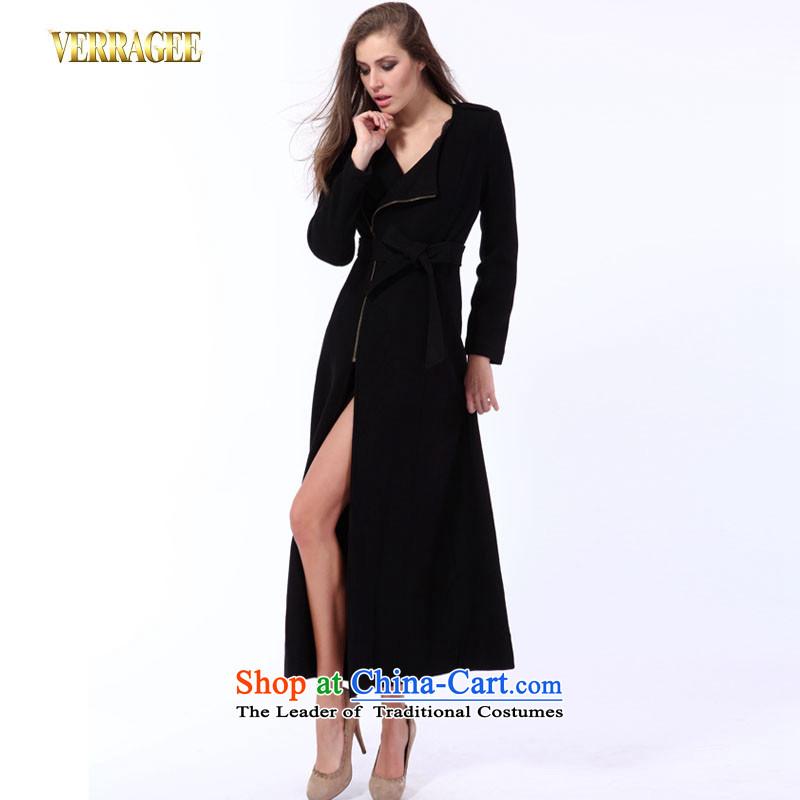 Wei Ya Ji /verragee western style temperament video thin-long, the auricle gross wool coat?? jacket for larger female t3950 blackM