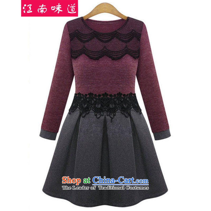 Gangnam-gu to taste the spring 2015 XL female spring outfits thick mm thin skirts Europe Sau San video wind casual dress 03 red and brown XXL