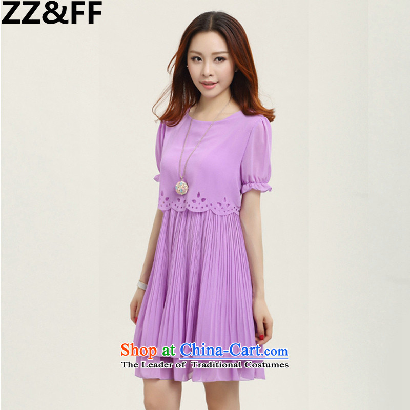 2015 Summer Zz_ff new xl women's dresses chiffon extra loose video thin thick MM female purple _7 cuff_ XXL