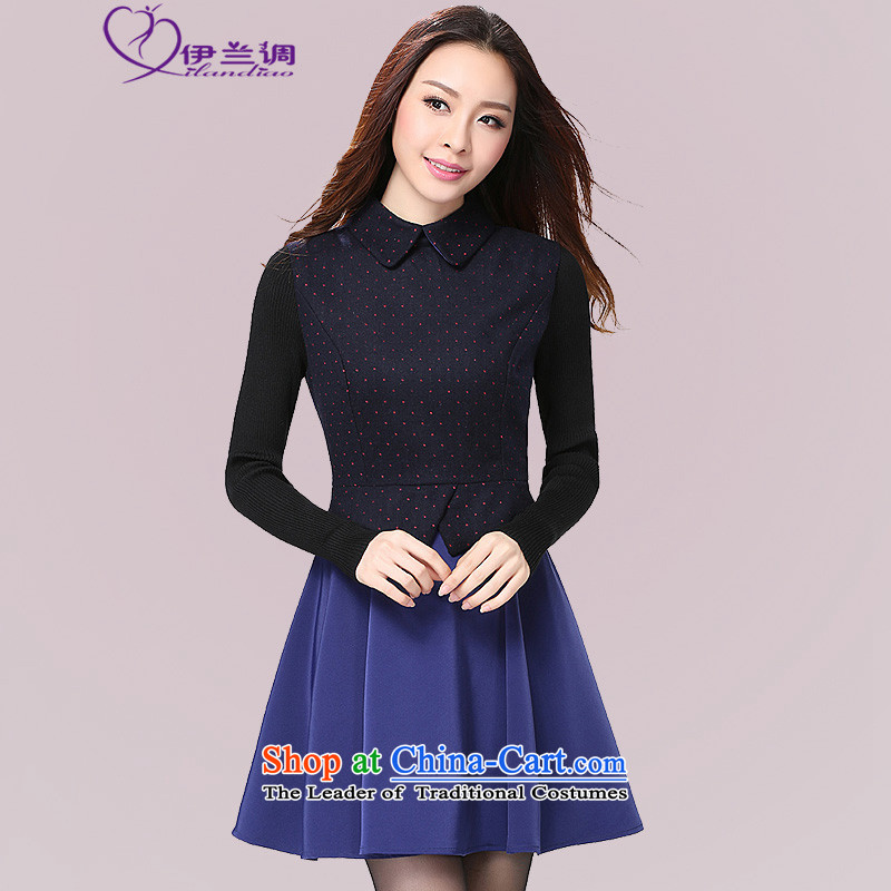 In the autumn of 2015 new products to increase long-sleeved blouses and stylish code OL lady commuter skirt thick mm Korean foutune graphics skinny lapel dresses blue�L 140-155 catty