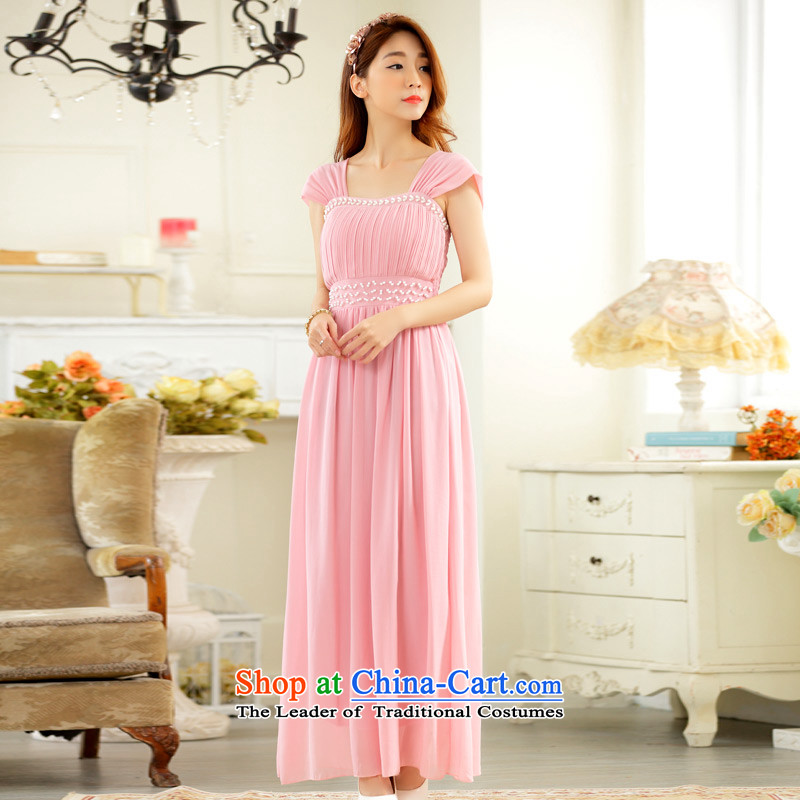 C.o.d. 2015 new summer elegant goddess wide shoulder strap lifting strap dresses like Susy Nagle Pearl nail chiffon larger than fat mm long skirt pink dresses燲L燼pproximately 120-140 catty