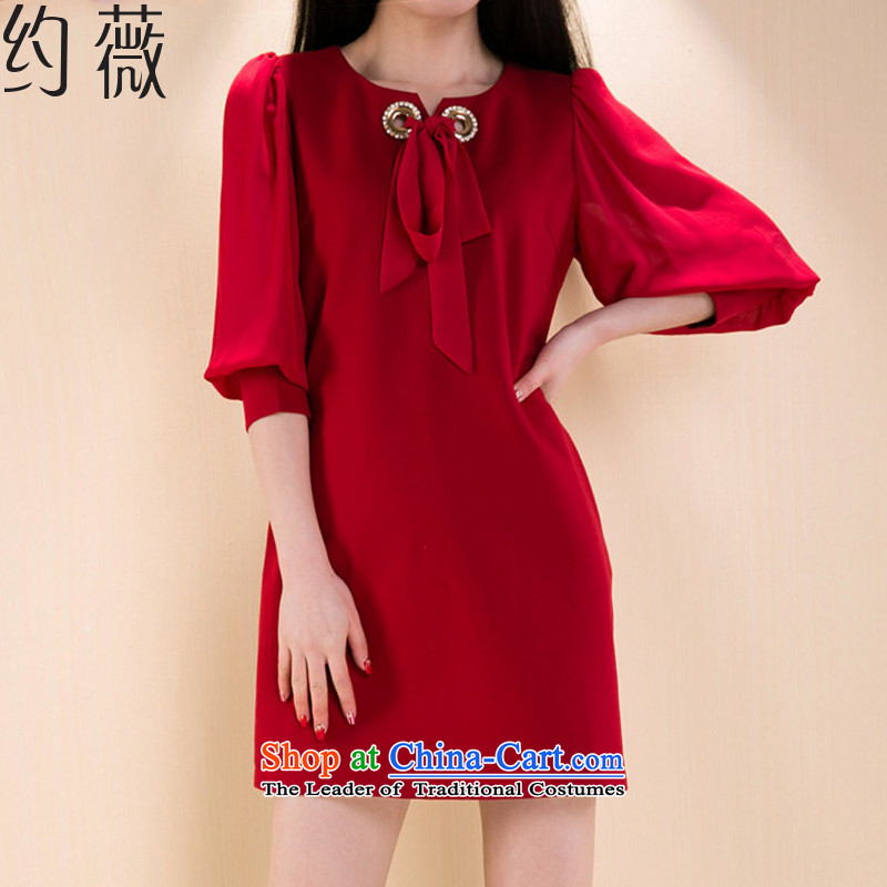 � The spring and summer of 2015, Ms Audrey EU about new product code women dresses Sau San video thin stitching chiffon 7 cuff dresses� YW172 female燫ed�L