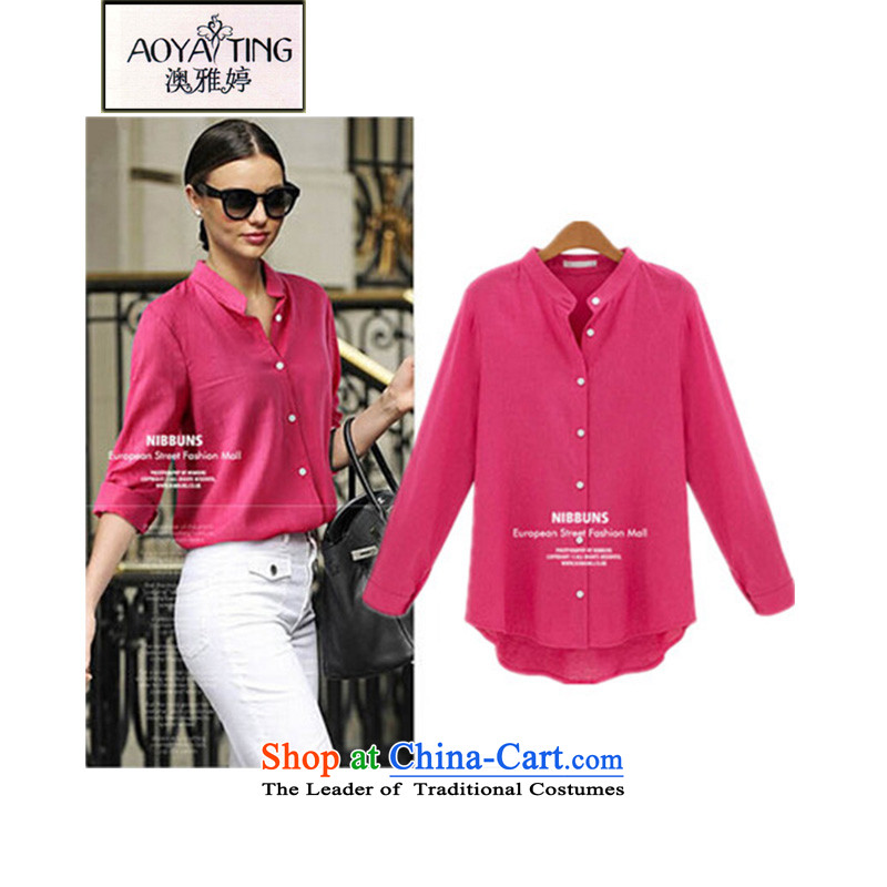 O Ya-ting to the ad xl women 2015 Ultra Spring New shirt solid color long-sleeved shirt D33 better 3XL red 145-165 recommends that you Jin