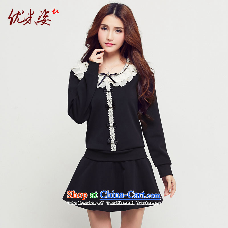 Optimize m Gigi Lai C.O.D. package mail 2015 thick mm spring lace Pearl Bow Tie Ladies leave two part to xl dresses XXXXL black�L