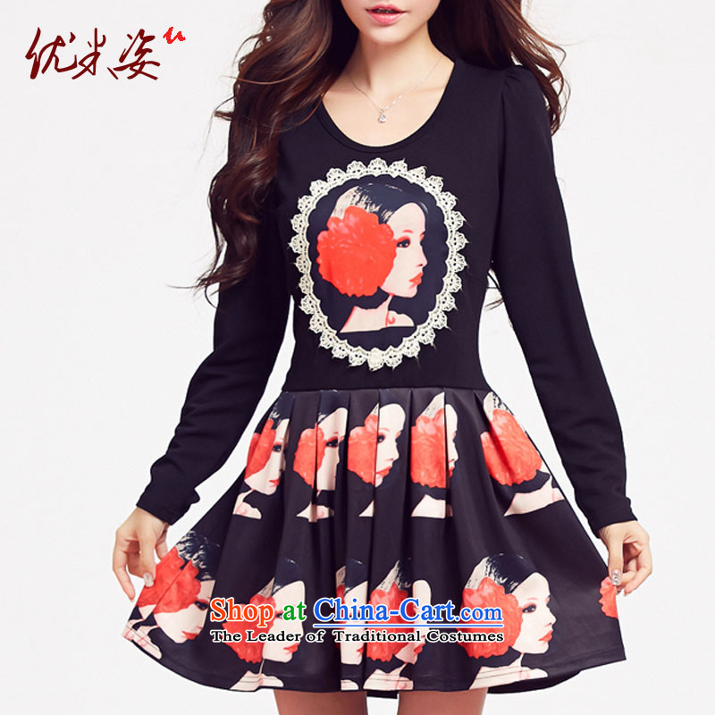 Optimize m large spring 2015 Gigi Lai female thick mm spring Korean Sau San pattern round-neck collar large long-sleeved dresses support C.O.D. XXXXL black�L