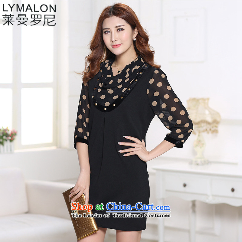The lymalon lehmann thick, Hin thin 2015 autumn and winter new Korean version of large numbers of women who are graphics thin relaxd dress 1185 wave point�L