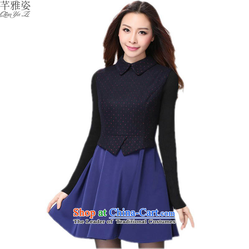 C.o.d. female xl skirt Korean 2015 Fall_Winter Collections new lapel of long-sleeved dresses gentlewoman temperament saika stitching OL female skirt video thin blue�L燼pproximately 160-175 catty