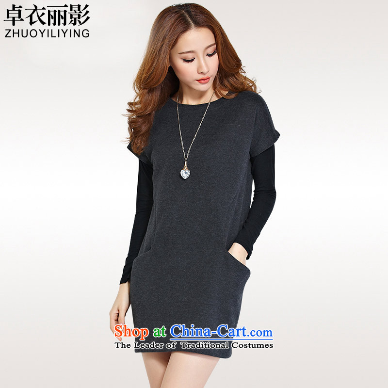 Zhou Yi -燼utumn 2015 the new Korean version of large numbers of ladies thick mm loose video thin two kits skirt wear long-sleeved shirt short skirts YS1181 Dark Gray�L爎ecommendations 130-145 catty