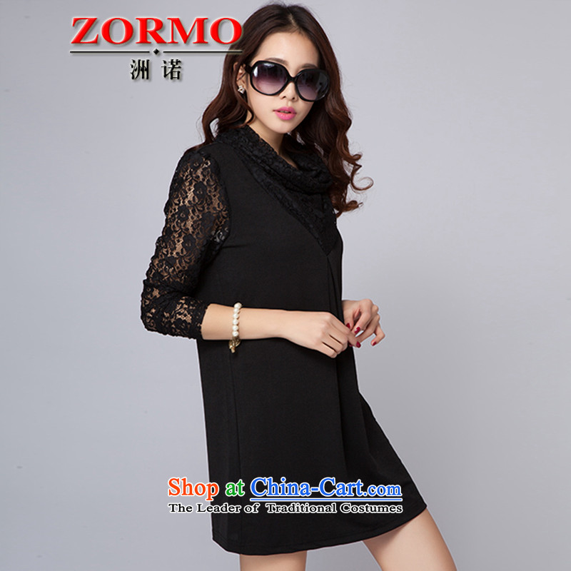 燣arge ZORMO women fall inside lace stitching long-sleeved dresses thick mm spring and autumn, forming the basis for larger apron skirt black燲XXL 145-160 catty