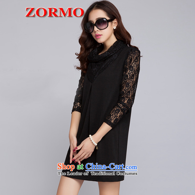 Large ZORMO women fall inside lace stitching long-sleeved dresses thick mm spring and autumn, forming the basis for larger apron skirt black XXXL 145-160 catty ,ZORMO,,, shopping on the Internet
