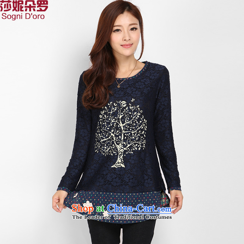 Shani latte macchiato, extra-thick mm female Korean autumn 2015 replacing the new graphics thin lace   T-shirt shirt�L sapphire blue autumn 8072 new products
