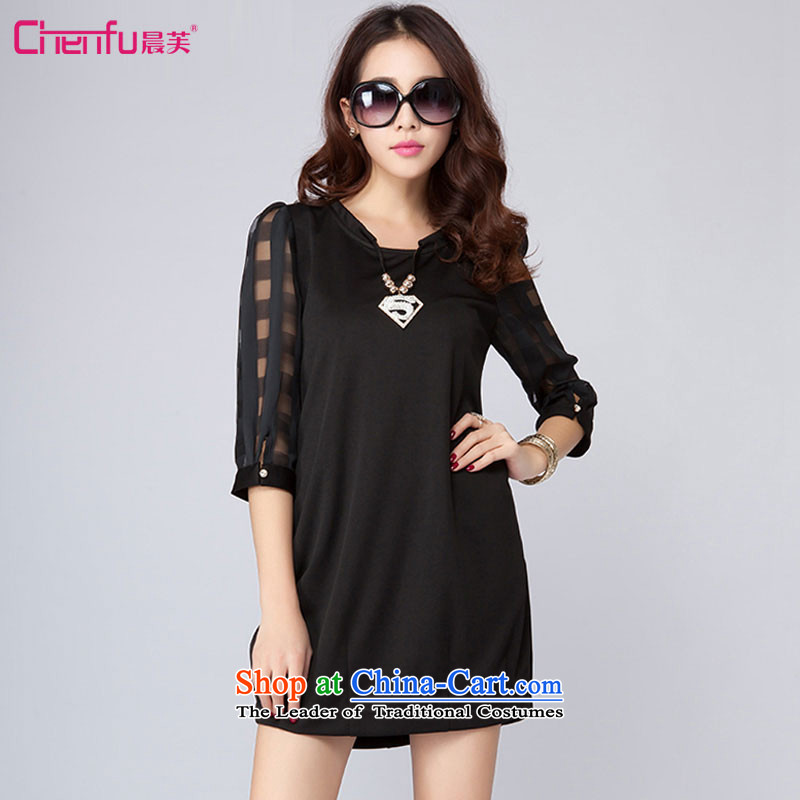 Morning to load the new 2015 autumn large female larger dresses thick sister stylish stitching pane Voile dresses燲L_ Black suitable for 120-130catties_