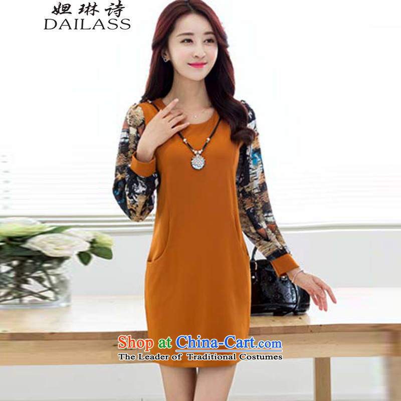 Hoda Badran (DAILASS poem Lin) 2015 Autumn new Korean version of large numbers of female add solid thick wool dresses winter QY1040 ORANGE L