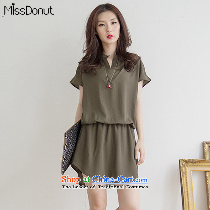 Missdonut2015 summer new to xl Women Korean loose video thin short-sleeved skirt wear skirts mm thick army green larger XL weight 140 catties recommendations - 160 catties