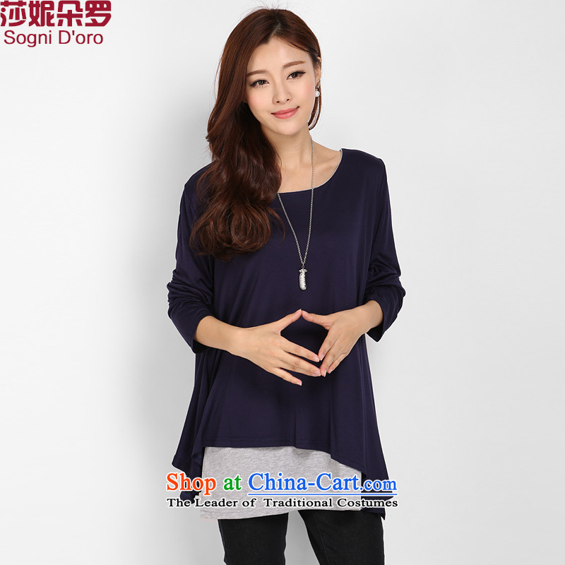 The autumn shani flower, knitted shirts thick mm larger T-shirts Korean version 2015 to increase long-sleeved shirt shirts, forming the liberal 8062 sapphire blue autumn knitted shirts 5XL