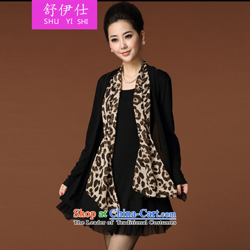 Schui Sze autumn and winter boutique aristocratic ladies in the leopard older larger relaxd dress OL under multi-tier leave two high-end nature of Sau San banquet dresses black XXL