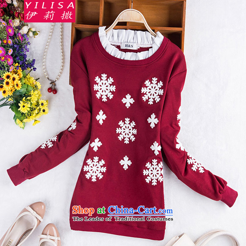 Elizabeth sub-to increase women's code autumn blouses Korean stitching embroidered fresh wild leisure thick MM Fall_Winter Collections, forming the long-sleeved T-shirt H5109 XXXL wine red