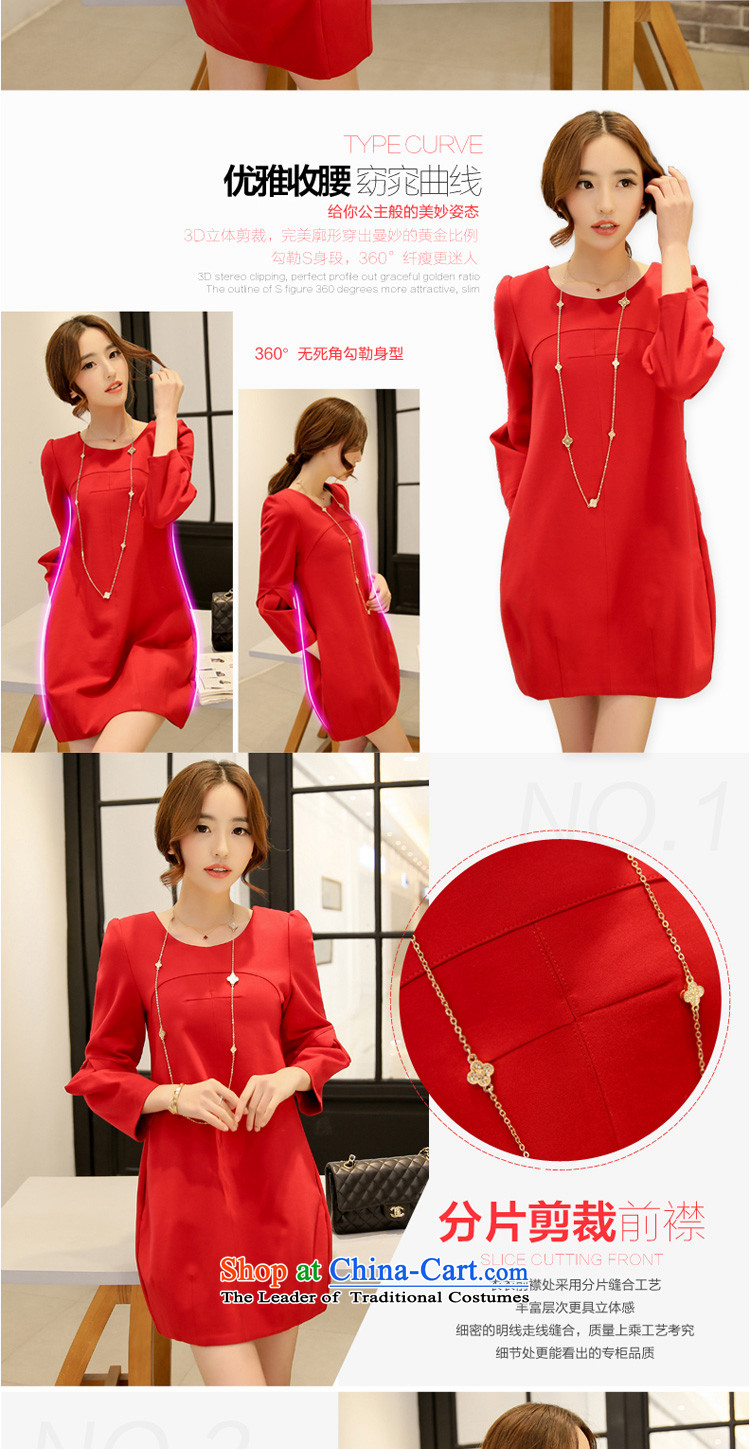 In accordance with the perfectspring 2015 new fat mm larger female Korean round-neck collar stereo stitching large red relaxd dressY2039redXXL picture, prices, brand platters! The elections are supplied in the national character of distribution, so action, buy now enjoy more preferential! As soon as possible.
