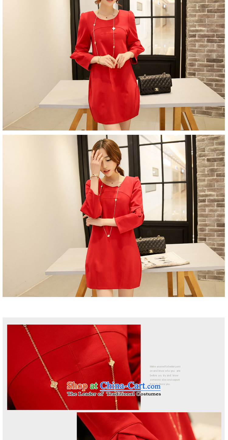 In accordance with the perfect spring 2015 new fat mm larger female Korean round-neck collar stereo stitching large red relaxd dress Y2039 red XXL picture, prices, brand platters! The elections are supplied in the national character of distribution, so action, buy now enjoy more preferential! As soon as possible.