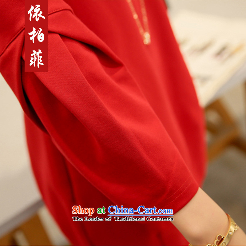 In accordance with the perfectspring 2015 new fat mm larger female Korean round-neck collar stereo stitching large red relaxd dressaccording to Park Y2039 XXL, red (yibofei) , , , shopping on the Internet