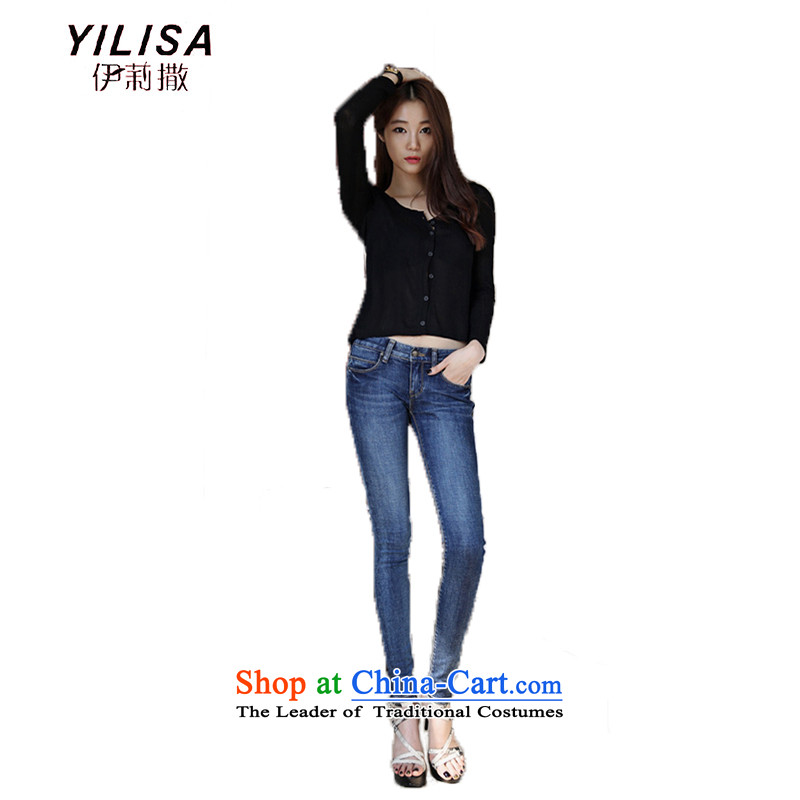 Large YILISA Women 2015 Fall_Winter Collections Korean version of large code cowboy thick MM stretch of Sau San jeans leisure jeans sub H2151 general 38