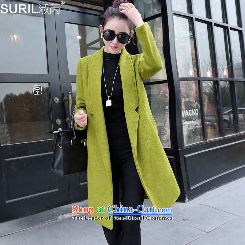 Mrs and gross? coats female woolen coat female non-cashmere overcoat female 2015 new winter Korean long in Sau San Green燤