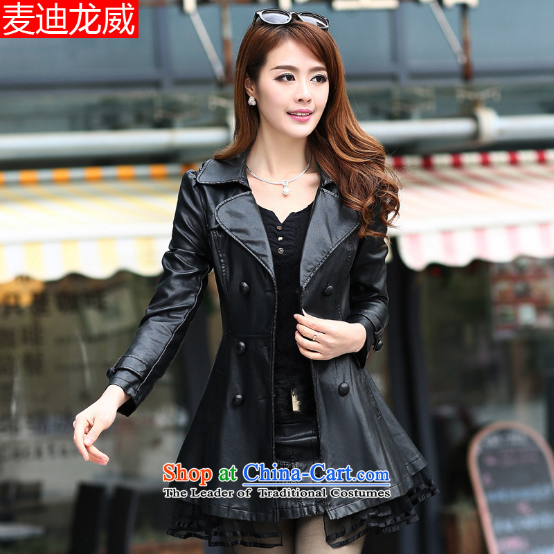 Maximum number of ladies thick mm spring jackets thick sister spring thick girls' Graphics thin_ fertilizer Korean autumn replacing black windbreaker聽6XL