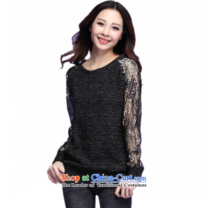 C.o.d. Package Mail thick people dress to long-sleeved shirt with the fall of knitting new round-neck collar color T-shirt engraving XL Graphics thin black shirt shirt casual燼bout 175-190 4XL catty