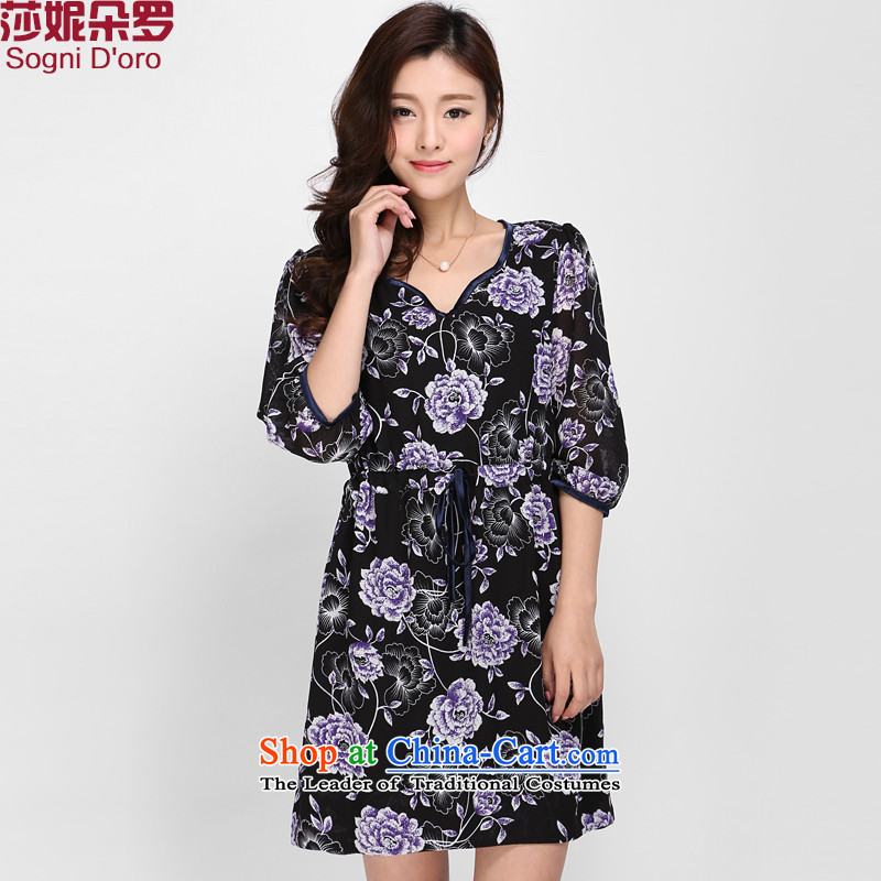 Shani flower, 2015 large female thick sister summer new V-Neck 7 Cuff Foutune of video thin ice woven dresses 0005 pattern 4XL spring and summer graphics thin new