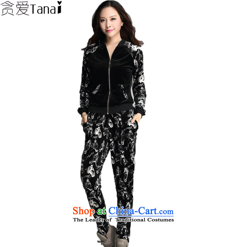 Indulge in fall and winter thick sister to xl ladies casual kit sweater girl loose video thin velvet two kits sports wear black�L
