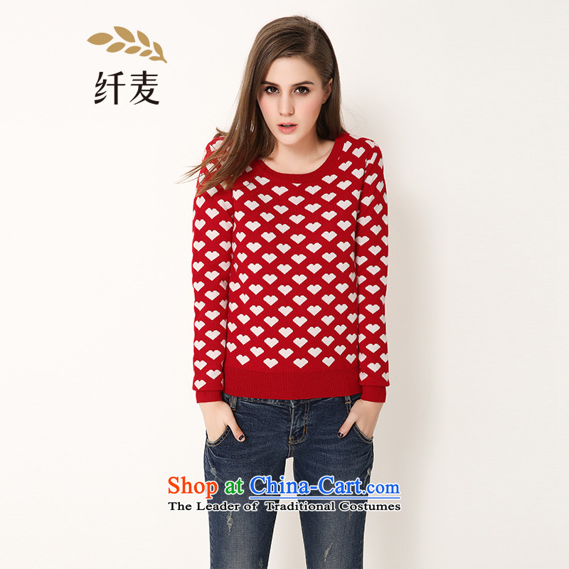 The former Yugoslavia Migdal Code Load 2015 Autumn load girls new thick mm video thin hedge long-sleeved sweater 651136006 Female Red XL