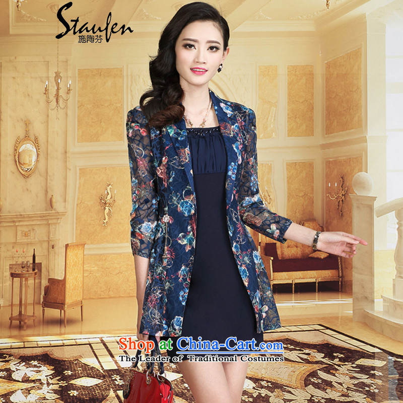 Stauffen autumn 2015 NEW OL temperament elegant large long-sleeved blouses and dresses 8099 blue sleeve XL