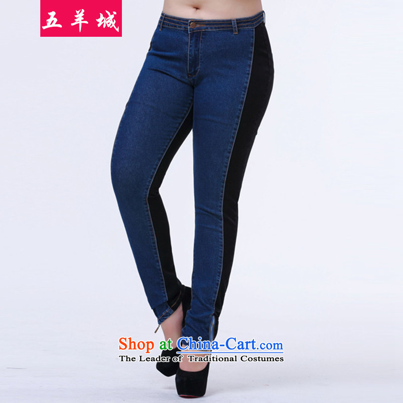 Five Rams City thick girls' Graphics thin, replace larger trousers autumn children younger sister leisure stitching thick jeans pants 509 Sau San Castor Pencil聽4XL recommendations 165 percent blue