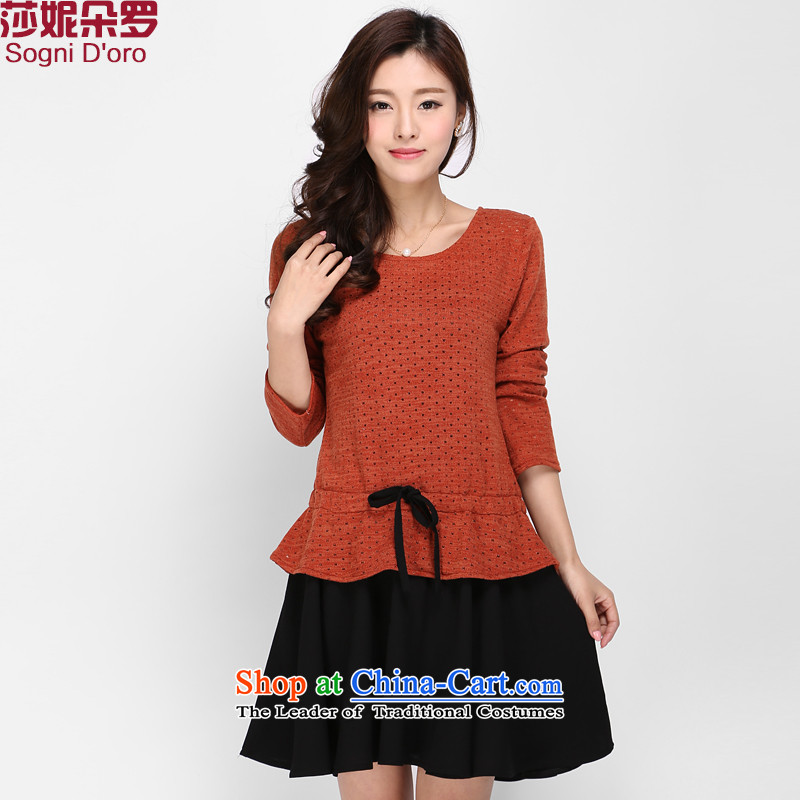 Luo Shani flower code women mm2015 thick with the new Korean autumn version long-sleeved sweater knit video thin dresses 0004 which corresponds to the orange5XL_ spring new products_