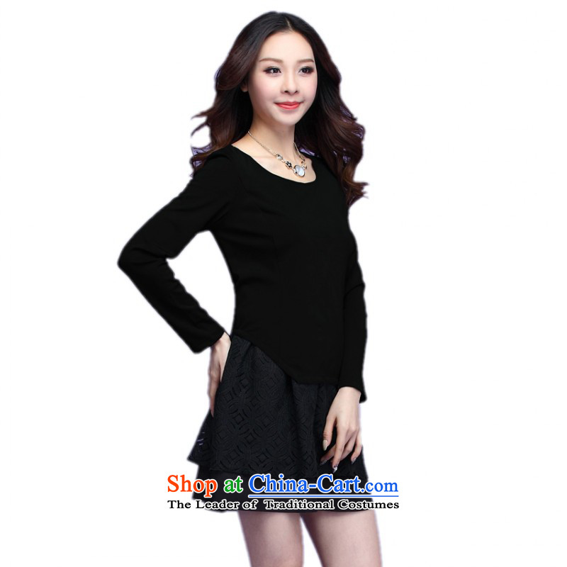 C.o.d. Package Mail thick people dress XL 2015 Autumn, dresses minimalist look round-neck collar stitching leave two kits short skirts long-sleeved black skirt lady XXL approximately 145-160 catty