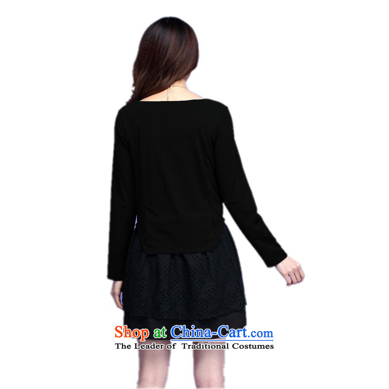C.o.d. Package Mail thick people dress XL 2015 Autumn, dresses minimalist look round-neck collar stitching leave two kits short skirts long-sleeved black skirt lady XXL about 145-160, land is of Yi , , , shopping on the Internet