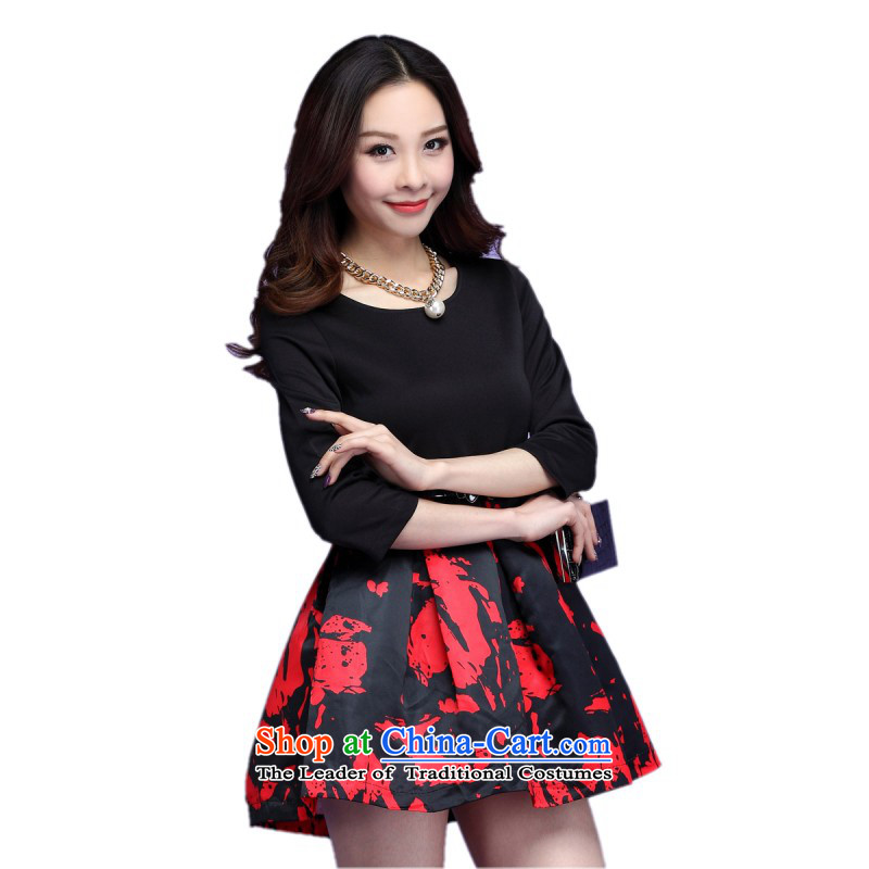 C.o.d. Package Mail thick mm larger dresses autumn 2015 replacing Korean bon bon short skirts graffiti stamp in the Cuff skirts large thin graphics skirt red聽XXL聽about 140-150catty