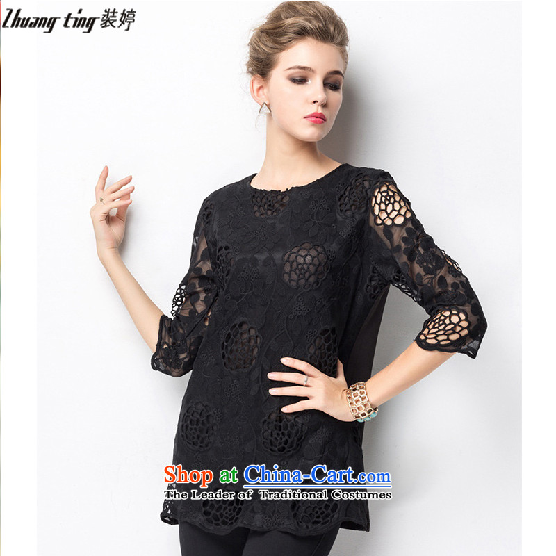 Replace, Hin thick zhuangting ting thin 2015 autumn large new women's high-end to increase expertise western sister lace shirt XXXXL 1323