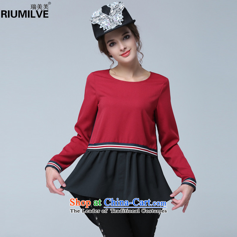 Rui Mei to to increase women's code 2015 Autumn New_ thick mm thin knocked color graphics in the stitching long long-sleeved T-shirt, forming the Netherlands N1327 chiffon Red聽2XL