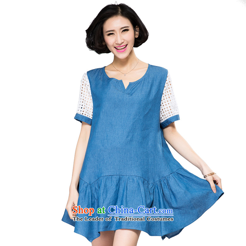 The Eternal-soo to xl women's dresses thick sister 2015 Summer new product expertise, Hin thick mm thin, stylish cowboy Korean sweet skirt light blue jeans聽2XL